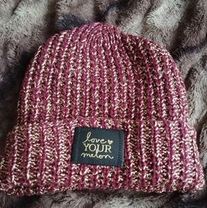 Love Your Melon Burgundy & Gold Metallic Beanie